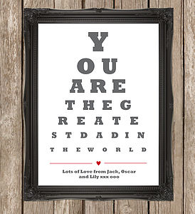 Personalised 'Greatest Dad' Fathers Print