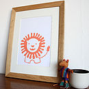 Lion Hand Screen Printed Poster