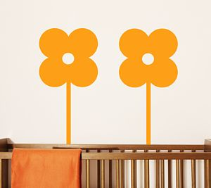 Set Of Three Flower Wall Stickers
