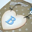 shabby chic heart with baby blue initial