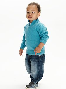 100% Pure Cashmere Half Zip Jumper - children's jumpers