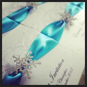 Snowflake And Lace Wedding Invitations - invitations