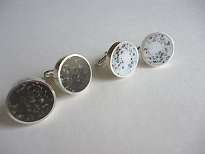 Handmade Silver Resin And Tea Cufflinks