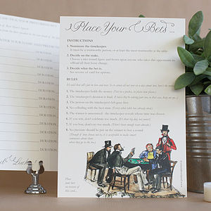 Pack Of 10 Wedding Speech Betting Cards - table decorations