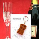 Champagne Cork Congratulations Keyring Card