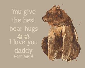 Personalised Father's Day 'Bear Hug' Print