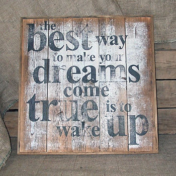 Handmade Reclaimed Wood 'Dreams' Word Print