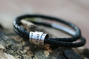 Personalised Black Secret Scroll Mens Bracelet