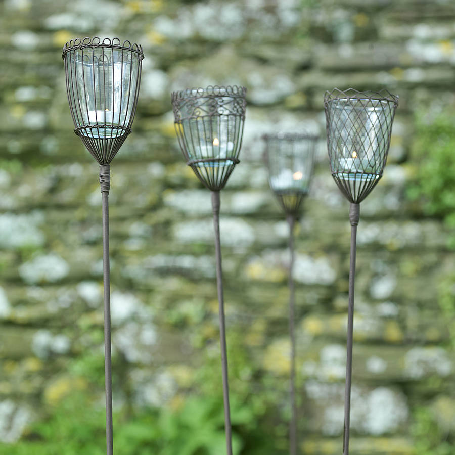 garden lantern stakes set of two by nkuku notonthehighstreetcom