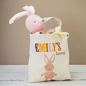 Personalised Tote Bag With Knitted Bunny - easter holiday outdoor play