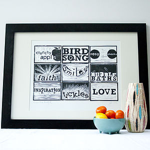 Reasons To Be Thankful! Hand Pressed Print - gifts for him