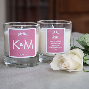 Personalised Initial Wedding Candle - table decorations
