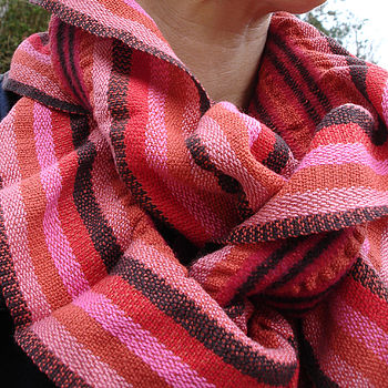 Handwoven Stripey Ruffle Scarf