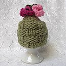Soft green flower basket egg cosy