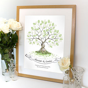 Entwined Fingerprint Tree Guest Book - personalised