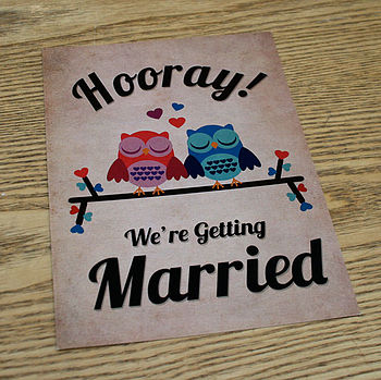 Owl Themed Retro Wedding Invitation