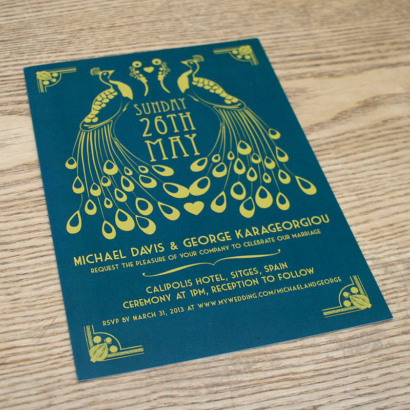 Pea Art Deco Wedding Invitation