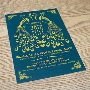Peacock Art Deco Wedding Invitation - invitations