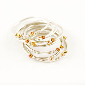 Silver And Copper Seed Stacking Ring - rings