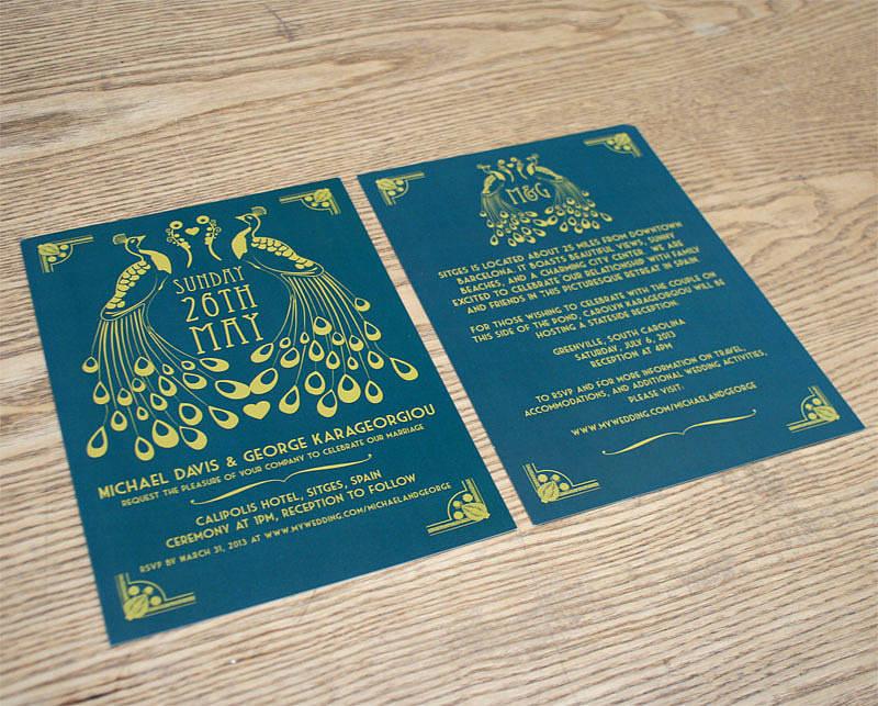 peacock art deco wedding invitation by magik moments – Art Deco Wedding Invitations Uk