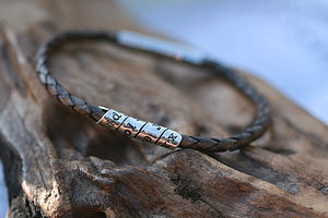 Distressed Mocha Slim Open Scroll Mens Bracelet - men's jewellery