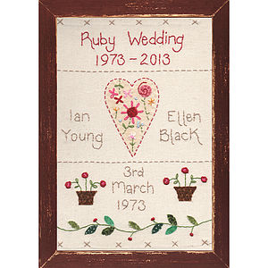 Personalised Embroidered Anniversary Picture - 2nd anniversary: cotton