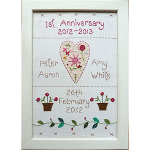 Personalised Embroidered Anniversary Picture - home