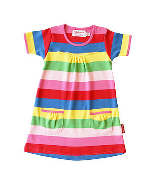 Organic Girl's Stripe Short Sleeve Dress