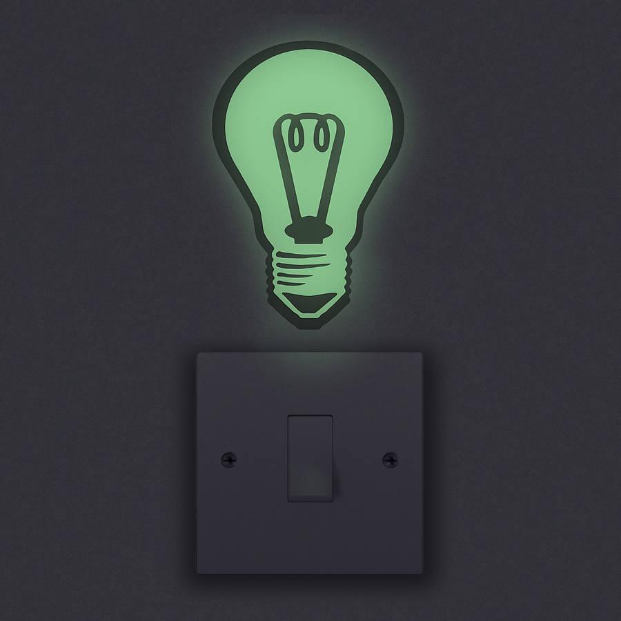 glow in the dark light bulb wall sticker by oakdene designs. Black Bedroom Furniture Sets. Home Design Ideas