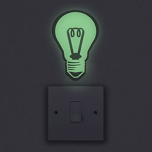 Glow In The Dark Light Bulb Wall Sticker