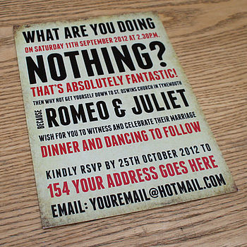 'What Are You Doing?' Wedding Invitation