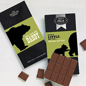 Papa Bear Personalised Chocolate Bar - father's day cards