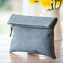 Pewter Fold Over Clutch Bag