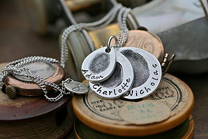 Trio Fingerprint Teardrop Necklace