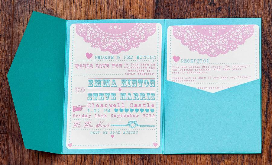 pocketfold wedding invitation 'lovely lace' by lovely jubbly ...