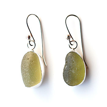 Olive Sea Glass Earrings