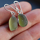 Olive Sea Glass Earrings