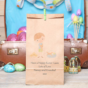 Personalised Boy's Easter Gift Bag - easter egg hunt