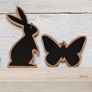 Four Easter Rabbit Or Butterfly Tags - hanging decorations