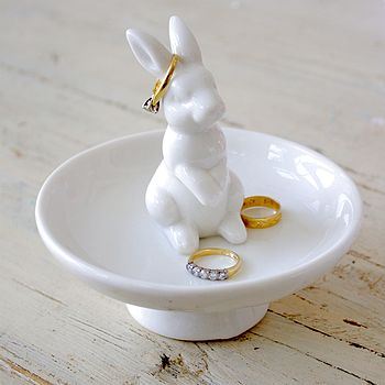 Ceramic Rabbit Trinket Or Ring Dish
