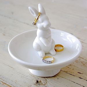 Ceramic Rabbit Trinket Or Ring Dish - stocking fillers under £15