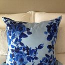 Vintage Scarf Blue Roses Cushion