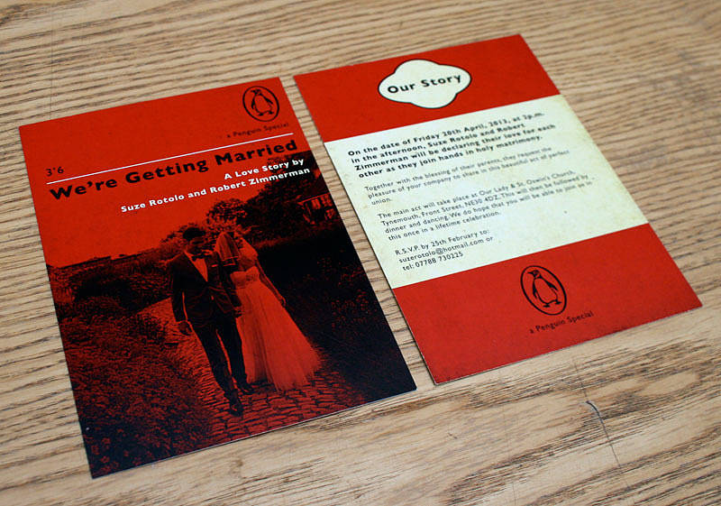 penguin book themed wedding invitation by magik moments