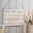 'Meal Time Rules' Retro Style Metal Sign