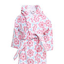 Floral Printed Cotton Velour Hooded Robe
