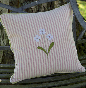 Handmade Embroidered Flower Cushion - cushions