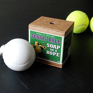 Tennis Ball Soap On A Rope - men's grooming & toiletries