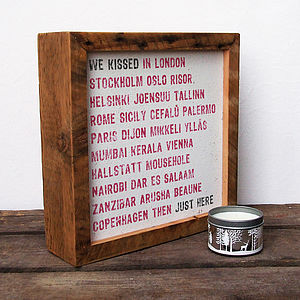 Personalised 'Kiss' Reclaimed Wood Print - anniversary gifts