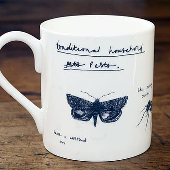 'Traditional Household Pests' Bone China Mug
