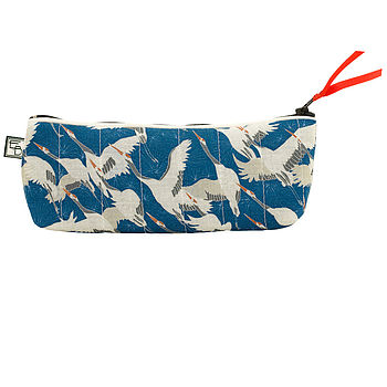 Cranes Blue Cosmetic Bag